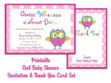 Free Downloadable Baby Shower Invites Thank You Card Printable Templates