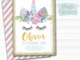 Free Downloadable Unicorn Birthday Invitations Printable Unicorn Face and Gold Glitter Birthday