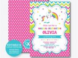 Free Editable Unicorn Birthday Invitations Instant Download Editable Unicorn Birthday Invitation