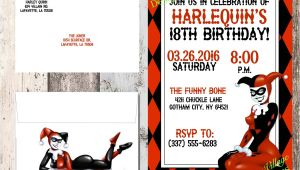 Free Harley Quinn Birthday Invitations Harley Quinn Invitation Birthday Baby Shower Dc Ics