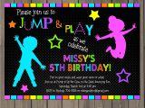Free Jump Party Invitations Jump Invitation Neon Bounce House Invitation Trampoline