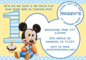 Free Mickey Mouse Baby Shower Invitation Templates Baby Mickey Mouse Matches Mickey S 1st Party Supplies