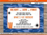 Free Nerf Gun Party Invitations Printable Nerf Birthday Party Invitations Editable Template Blue