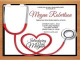 Free Nursing School Graduation Invitation Templates Stethoscope Nursing Medical Degree Graduation Party