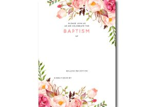 Free Online Baptism Invitations Templates Free Printable Baptism Floral Invitation Template