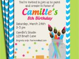 Free Paint Party Invitation Template Painting Art Party Birthday Invitation Printable or Printed