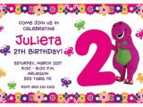 Free Personalized Barney Birthday Invitations Girly Barney Invite Girly Barney Inspired Party