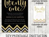 Free Printable 21st Birthday Invitations Twenty First 21st Birthday Chevron Invitation Printable