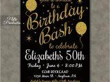 Free Printable 50th Birthday Invitations 50th Birthday Invitation Printable 50 Black Gold Glitter