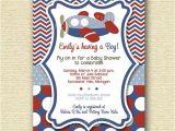Free Printable Airplane Baby Shower Invitations Chevron Polka Dot Airplane Baby Shower Invitation