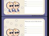 Free Printable Baby Shower Invitations for Twins Free Printable Twin Baby Shower Invitations