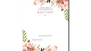 Free Printable Baptism Invitations Templates Free Printable Baptism Floral Invitation Template