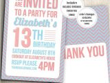 Free Printable Birthday Invitations for Teenage Girl Birthday Party Invitation for Teenage Girl with Thank You