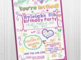 Free Printable Birthday Invitations for Tweens Items Similar to Printable 5×7 Sleepover Tween Birthday