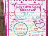 Free Printable Birthday Invitations for Tweens Tween Birthday Teen Invitation Sleepover Notebook Doodle
