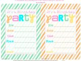 Free Printable Birthday Party Invitations Bnute Productions Free Printable Striped Birthday Party