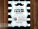 Free Printable Black and White Baby Shower Invitations Black and White Rugby Stripe Mustache Baby Shower Invitation