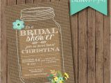 Free Printable Bridal Shower Invitations Rustic Rustic Mason Jar Burlap Bridal Shower Invite Floral