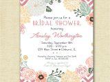 Free Printable Bridal Shower Invitations Vintage Vintage Flower Wreath and Pink Chevron Bridal Shower