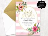 Free Printable Bridal Shower Postcard Invitations Blush Pink Floral Bridal Shower Invitation Template