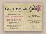 Free Printable Bridal Shower Postcard Invitations Paris French Postcard Bridal or Baby Shower Invitation