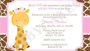Free Printable Giraffe Baby Shower Invitations Girl Giraffe Baby Shower Invitation Invite Giraffe Invitation