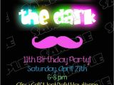 Free Printable Glow In the Dark Birthday Party Invitations Glow In the Dark Invitations Mustache Birthday Party