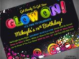 Free Printable Glow In the Dark Birthday Party Invitations Glow Neon Black Light Party Customized Printable Invitation