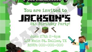 Free Printable Minecraft Birthday Party Invitations Templates 40th Birthday Ideas Minecraft Birthday Invitation