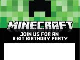 Free Printable Minecraft Birthday Party Invitations Templates Free Minecraft Birthday Invitations Personalize for