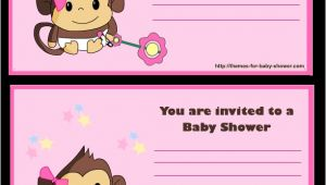 Free Printable Monkey Girl Baby Shower Invitations 5 Free Printable Monkey Baby Shower Invitations Party Xyz