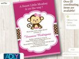 Free Printable Monkey Girl Baby Shower Invitations Hot Pink Girl Monkey Baby Shower Invitation Printable Diy Card