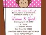Free Printable Monkey Girl Baby Shower Invitations Monkey Girl Invitation Printable or Printed with Free
