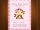 Free Printable Monkey Girl Baby Shower Invitations Pink Girl Monkey Baby Shower Printable Diy Party