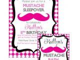 Free Printable Mustache Birthday Invitations Mustache Sleepover Birthday Bash Printable Party