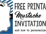 Free Printable Mustache Birthday Invitations Party Invitation Templates Free Printables Paper Trail