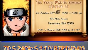 Free Printable Naruto Birthday Invitations Items Similar to Custom Naruto Birthday Party Invitation