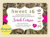 Free Printable Pink Camo Birthday Invitations Girls Sweet 16 Pink Camo Birthday Invitation Printable