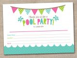 Free Printable Pool Party Birthday Invitations Girls Pool Party Printable Invitation Fill by