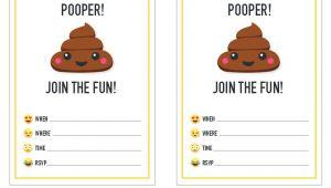 Free Printable Poop Emoji Birthday Invitations Http Www Livinglocurto Com 2016 04 Emoji Party