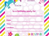 Free Printable Rainbow Unicorn Birthday Invitations Fill In Birthday Party Invitations Printable Rainbows and