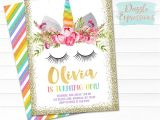 Free Printable Rainbow Unicorn Birthday Invitations Printable Rainbow and Gold Glitter Unicorn Face Birthday