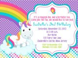 Free Printable Rainbow Unicorn Birthday Invitations Unicorn Invitation Personalized Custom Unicorn Rainbow