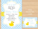 Free Printable Rubber Ducky Baby Shower Invitations Printable Baby Shower Rubber Ducky Yellow Blue by