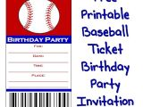 Free Printable softball Birthday Invitations Baseball Ticket Birthday Party Invitation – About Family
