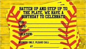 Free Printable softball Birthday Invitations softball Party Invitations