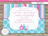 Free Printable Spa Birthday Invitations 7 Best Images Of Spa Party Invitations Printable and