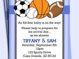 Free Printable Sports themed Baby Shower Invitations All Star Sports Invitation Printable or Printed with Free