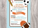 Free Printable Sports themed Baby Shower Invitations Baby Shower Invitation Sports themed Printable Blue Baby