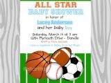 Free Printable Sports themed Baby Shower Invitations theme Free Printable Sports themed Baby Shower